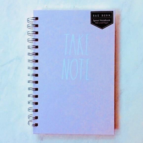 "Rae Dunn Spiral Notebook ""Take Note"" Pink / White"